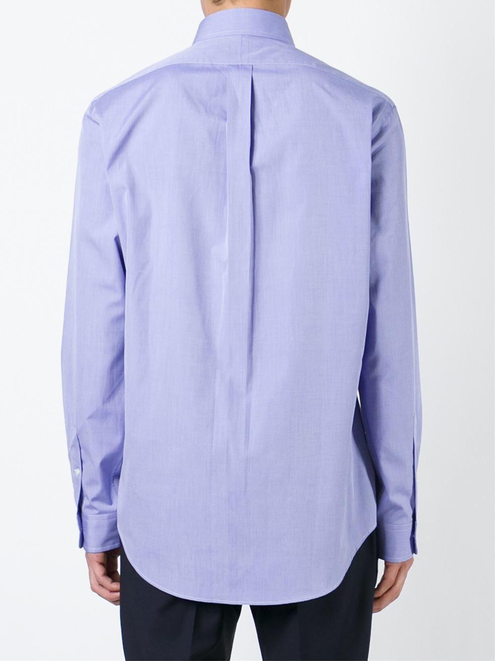 Lyst polo ralph lauren button down collar shirt in blue for Polo ralph lauren casual button down shirts