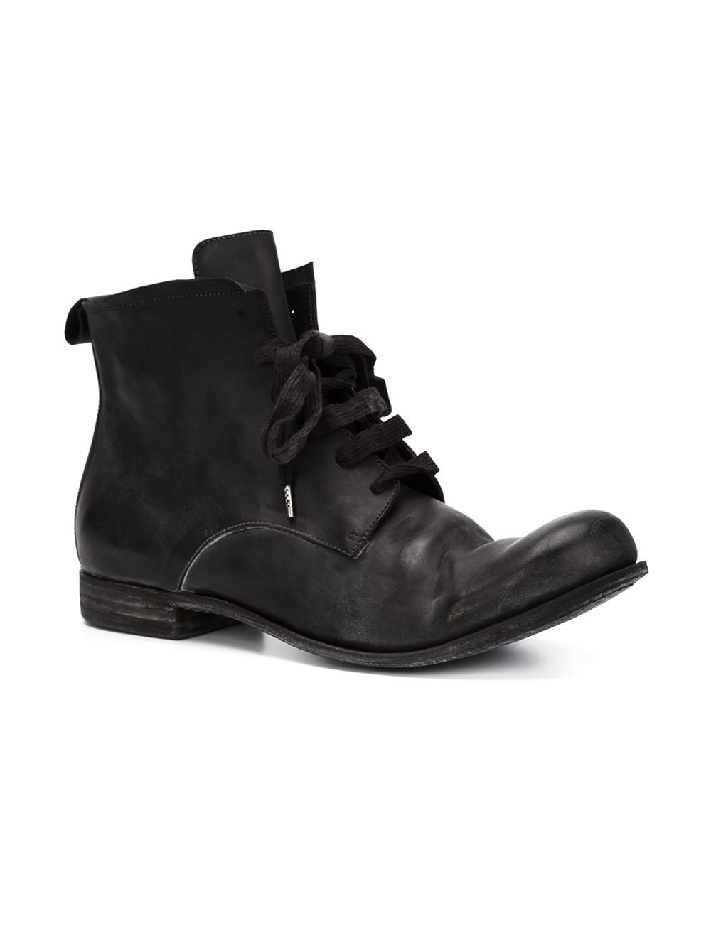 a diciannoveventitre distressed lace up boots in black for