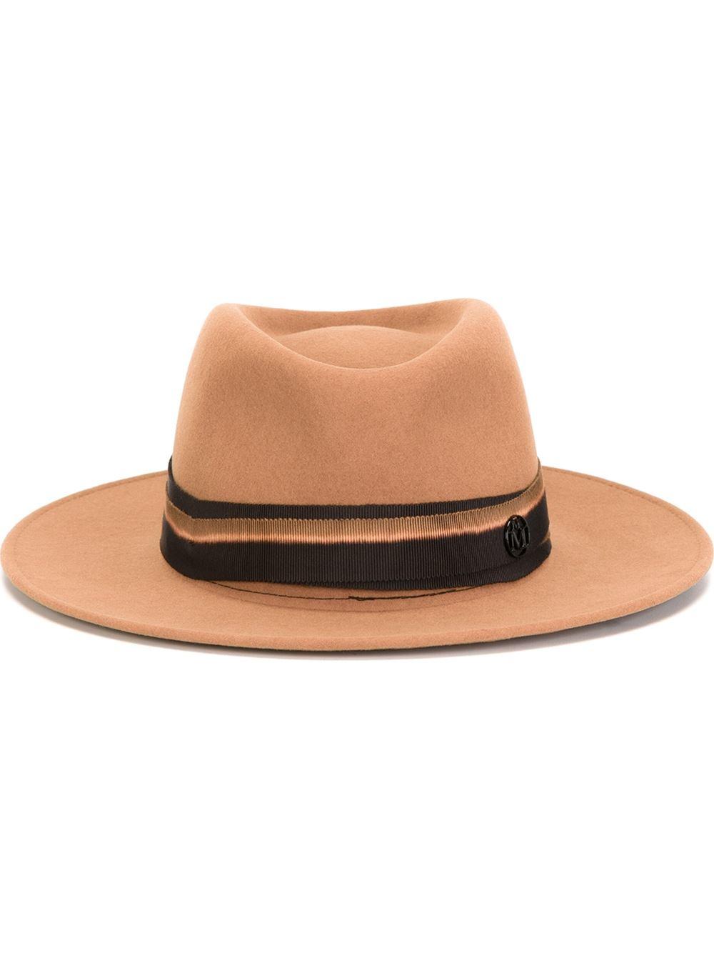 Maison michel fedora hat in brown lyst for Maison michel