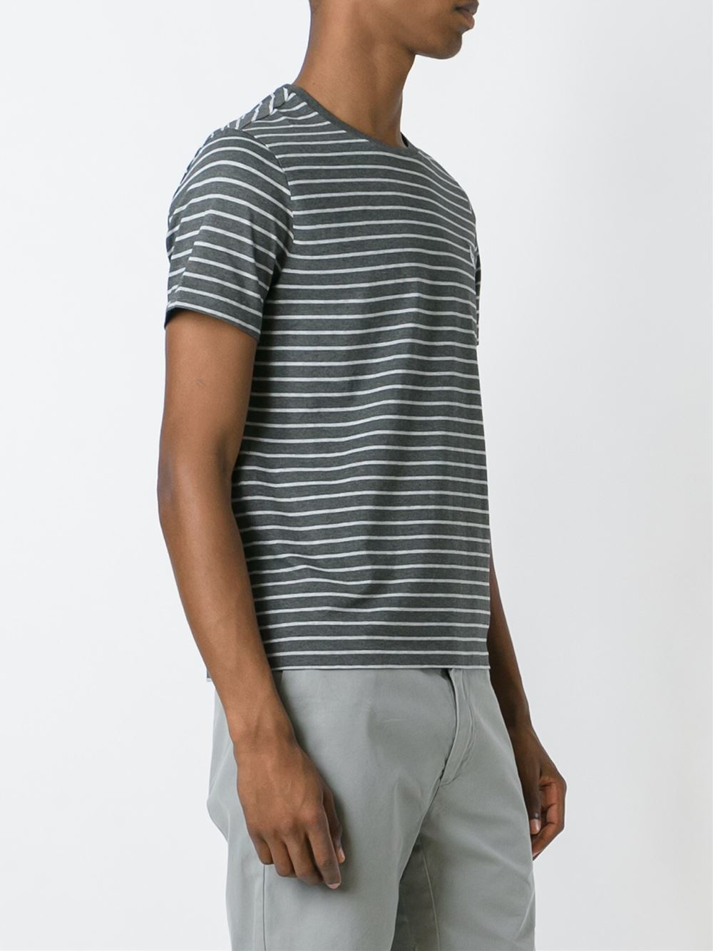 Lyst polo ralph lauren striped t shirt in gray for men for Grey striped t shirt