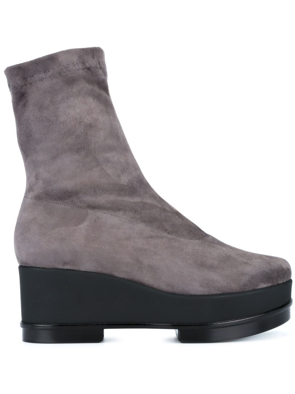 robert clergerie suede wedge boots in gray lyst