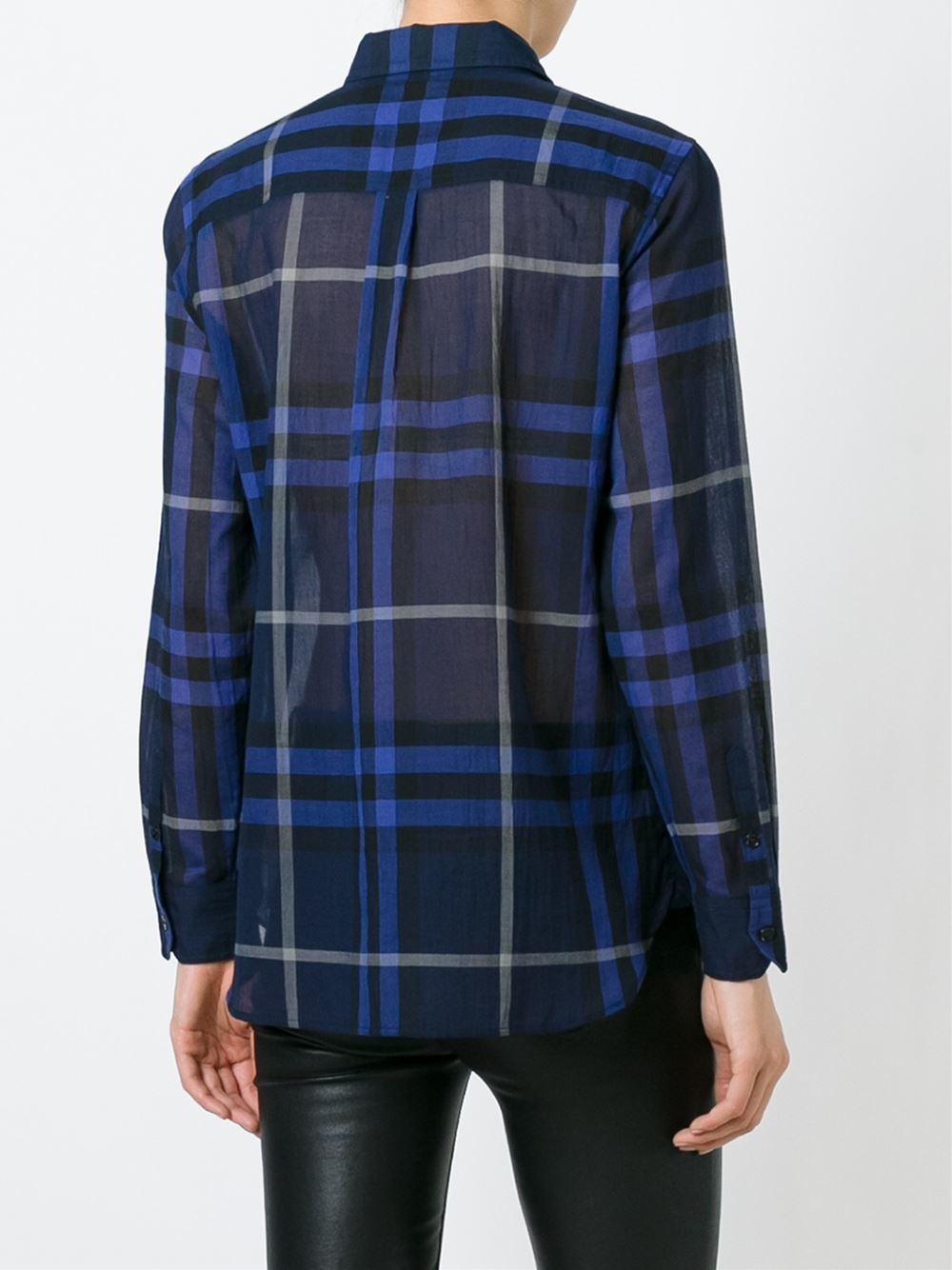 Burberry brit checked shirt in blue lyst for Burberry brit checked shirt
