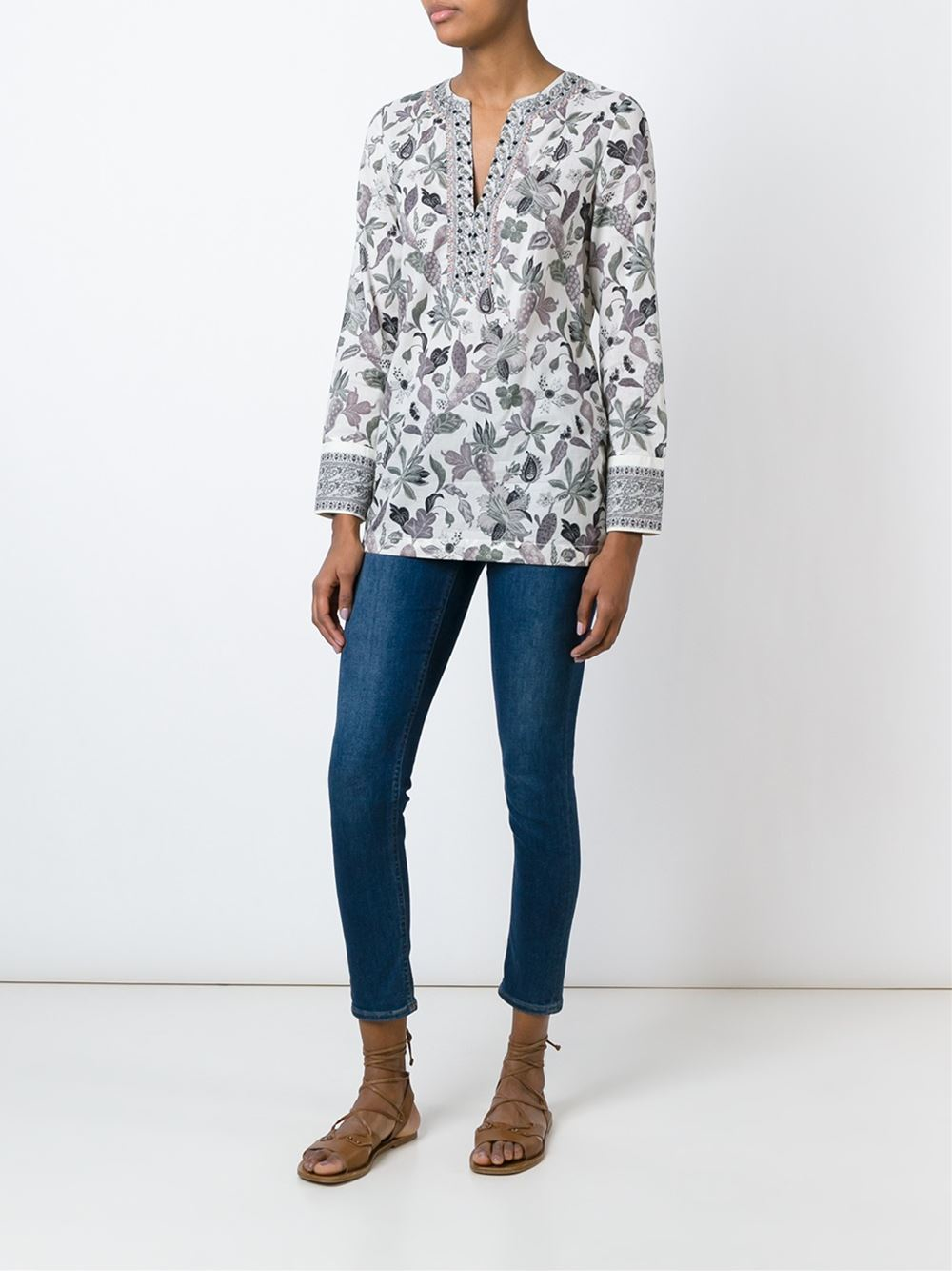 Tory burch floral print blouse lyst for Tory burch fashion island