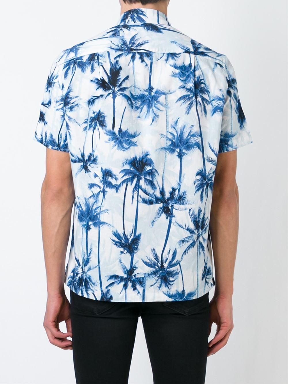 Lyst Saint Laurent Palm Tree Print Shirt Blue For Men