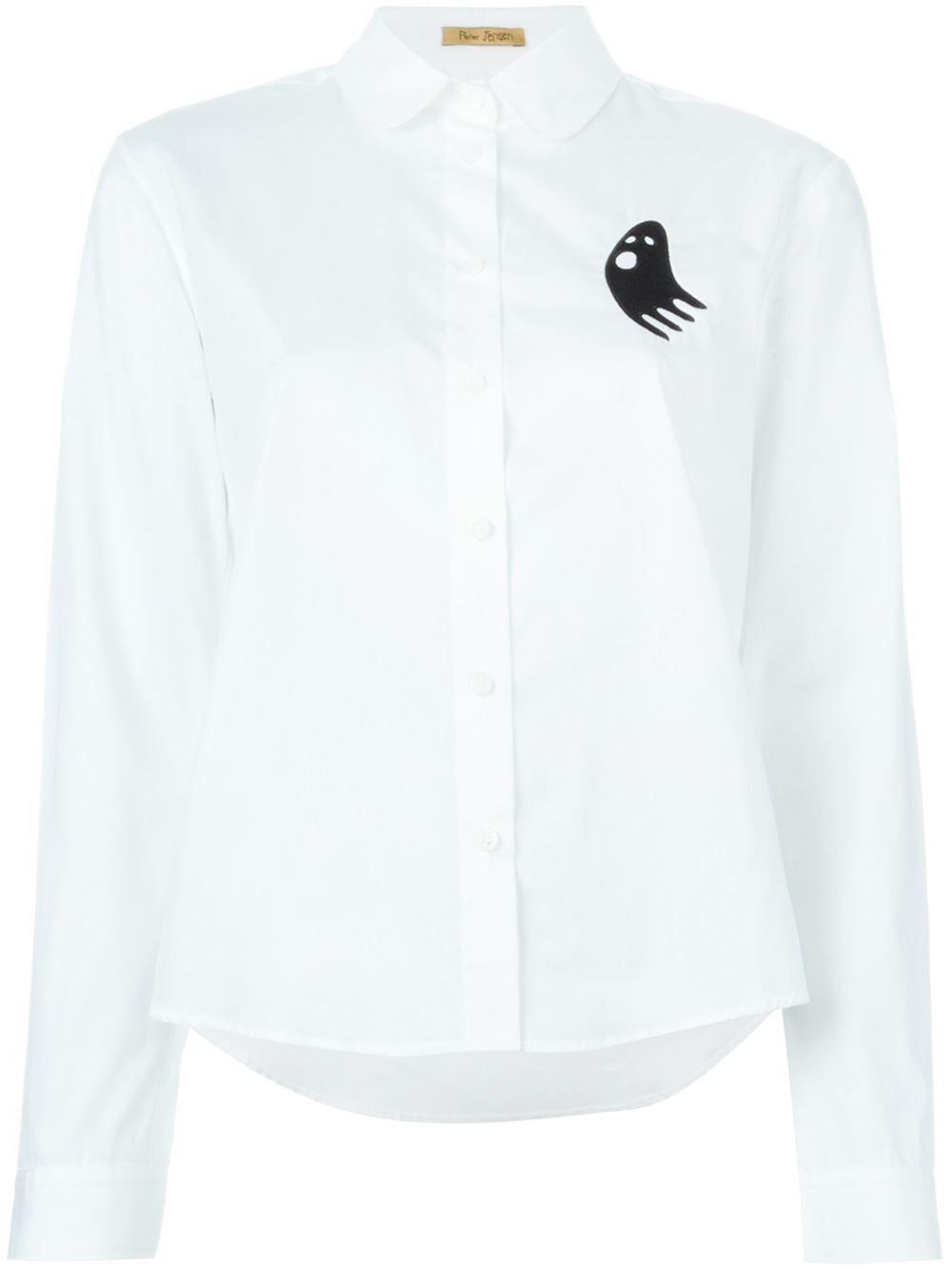 Peter jensen classic shirt with a peter pan collar in for White cotton shirt peter pan collar