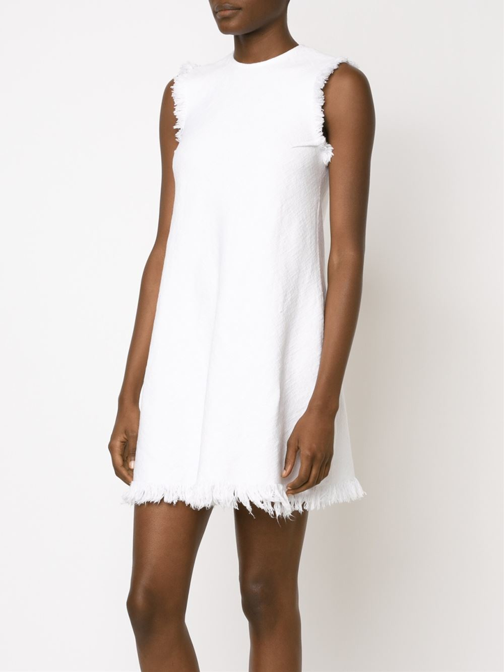 T by alexander wang frayed woven dress in white lyst for Alexander wang wedding dresses