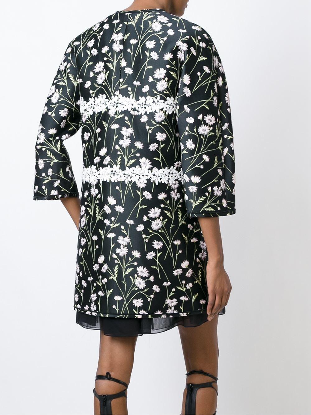 Lyst Giambattista Valli Floral Three Quarter Sleeve Coat