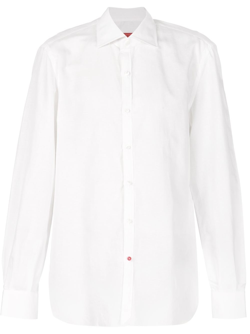 Isaia cutaway collar shirt in white for men lyst for White cutaway collar shirt