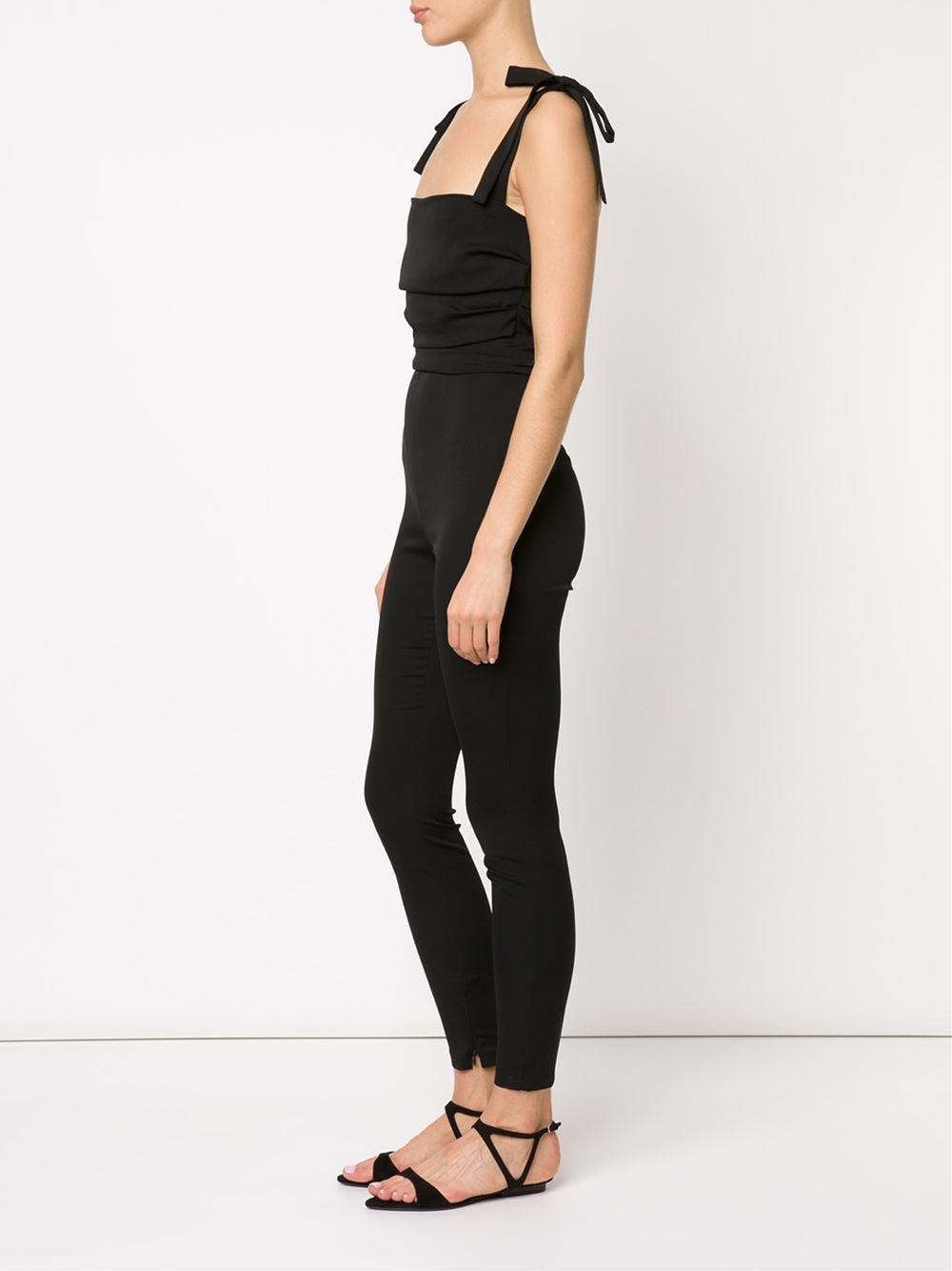 Dolce Amp Gabbana Tie Shoulder Strap Jumpsuit In Black Lyst