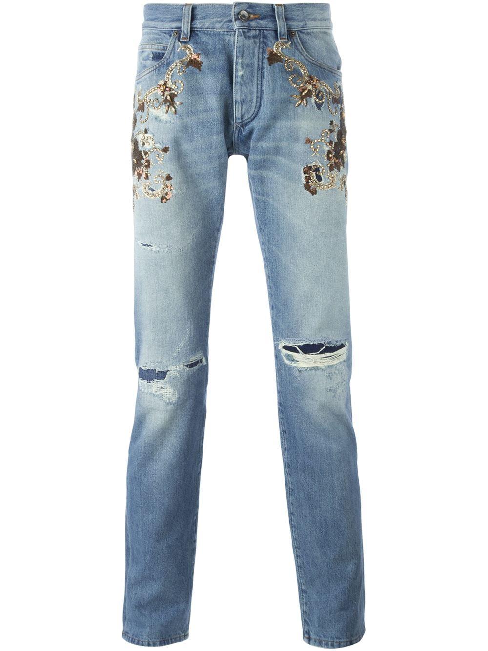 dolce gabbana embroidered embellished jeans men. Black Bedroom Furniture Sets. Home Design Ideas