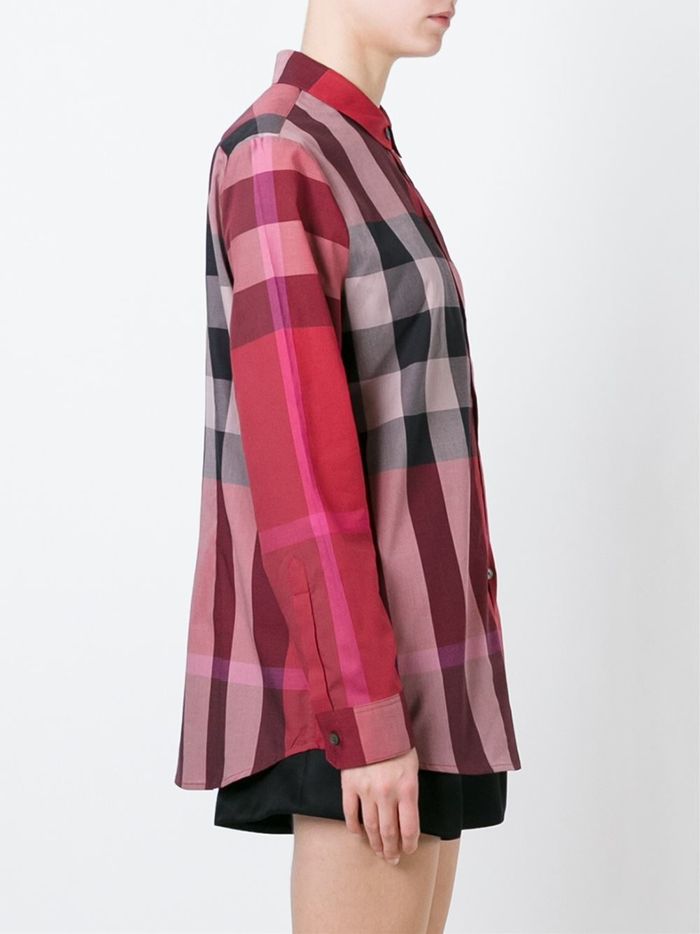 Lyst burberry brit checked shirt in red for Burberry brit checked shirt