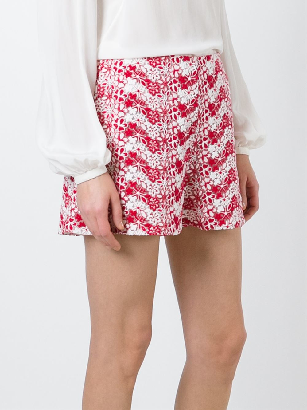 Lyst giamba floral embroidered shorts in red