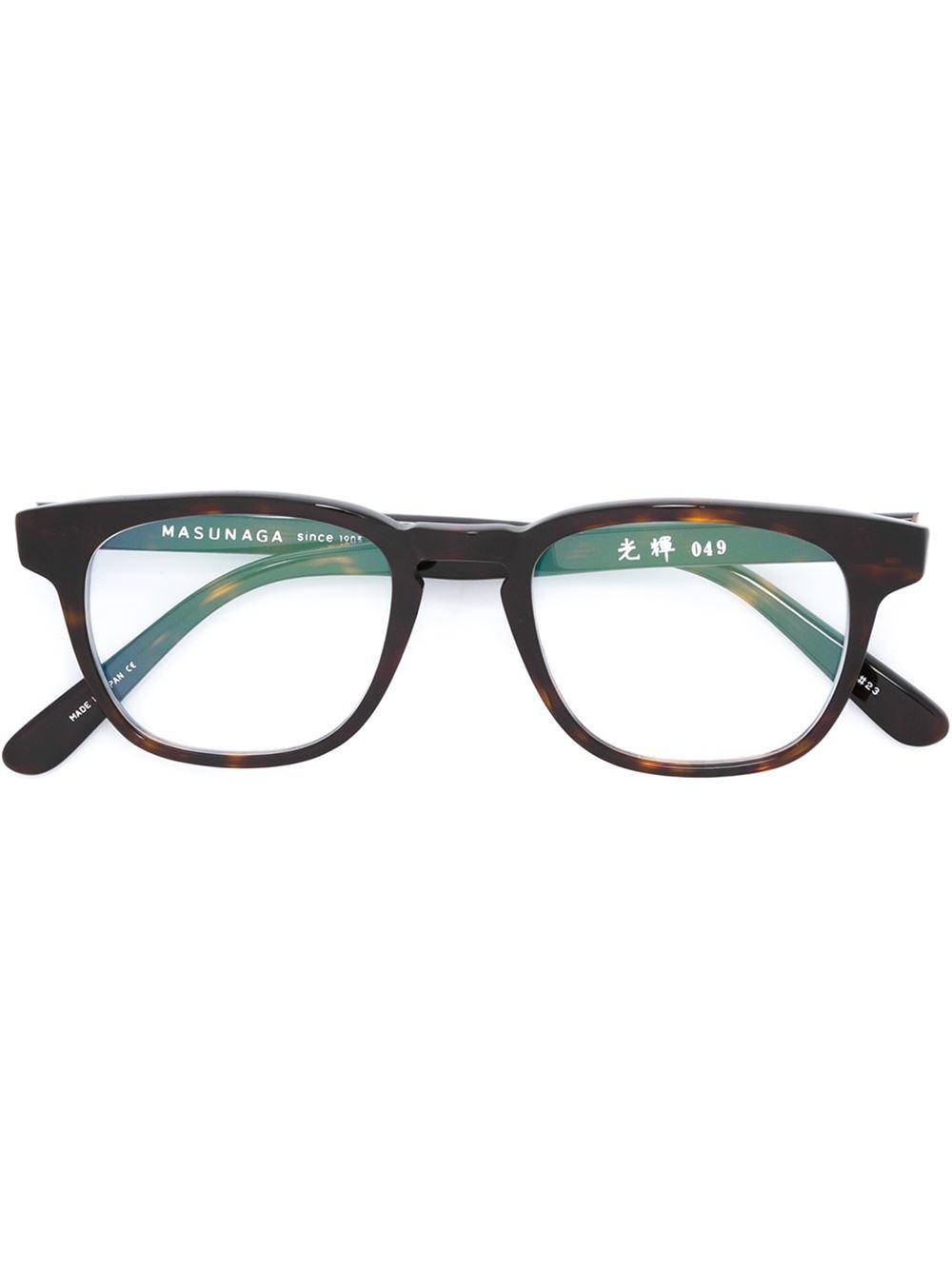 e14273f50db Lyst - Masunaga Rectangular-shaped Glasses in Black for Men