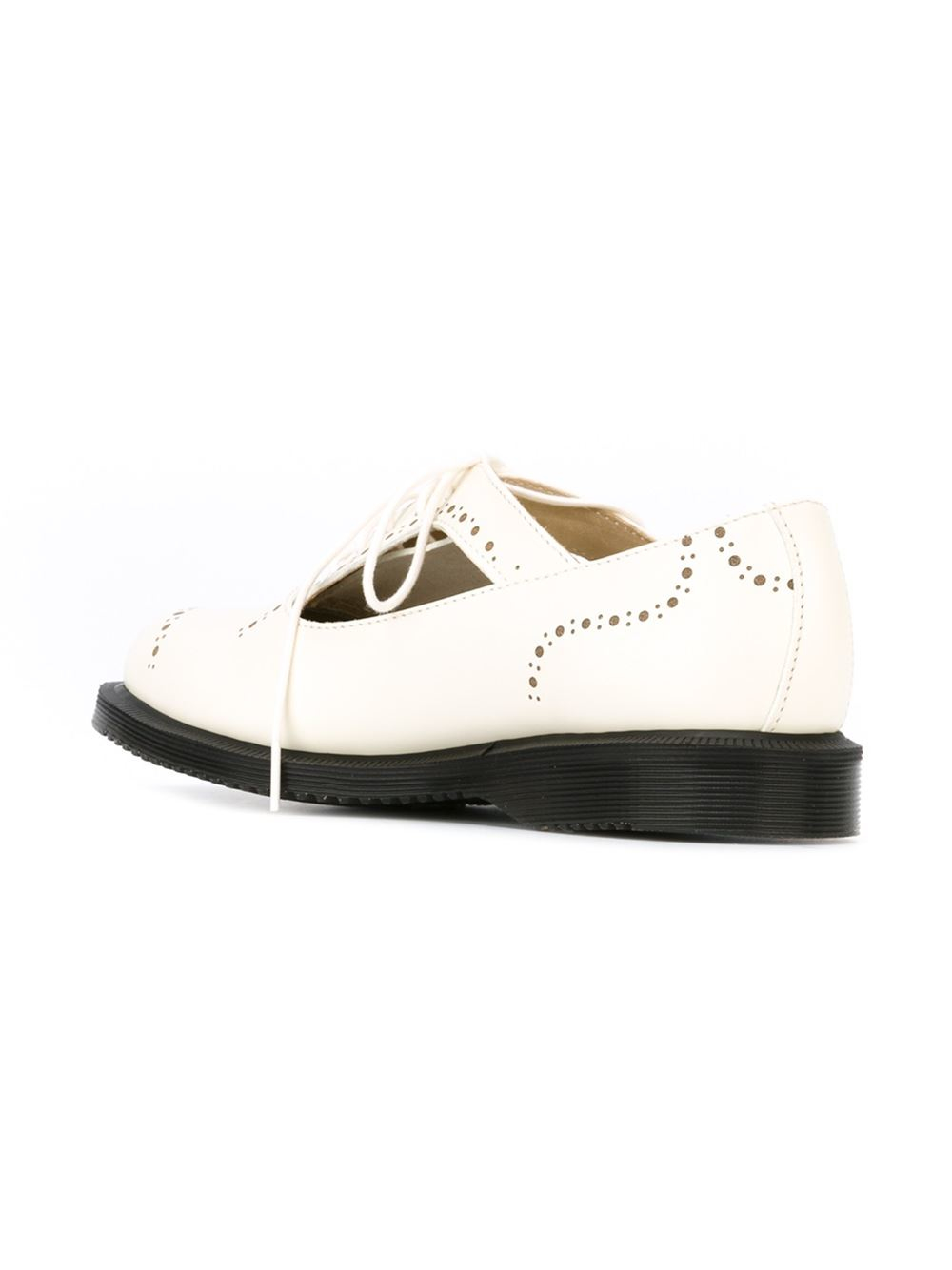 dr martens cut out brogue shoes in white lyst