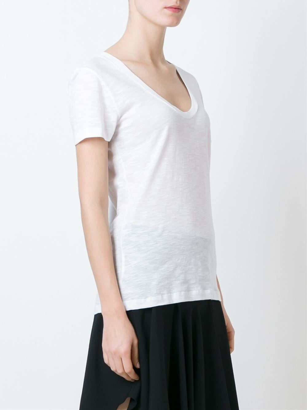 Moncler scoop neck t shirt in white lyst for Scoop neck t shirt
