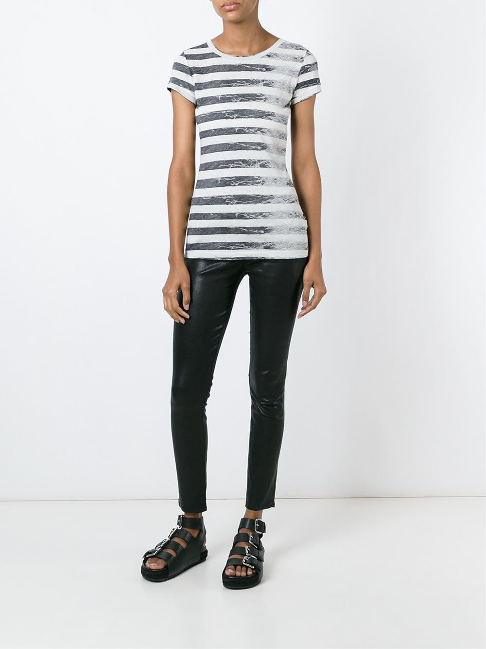 Lyst mm6 by maison martin margiela striped t shirt in black for Maison de margiela