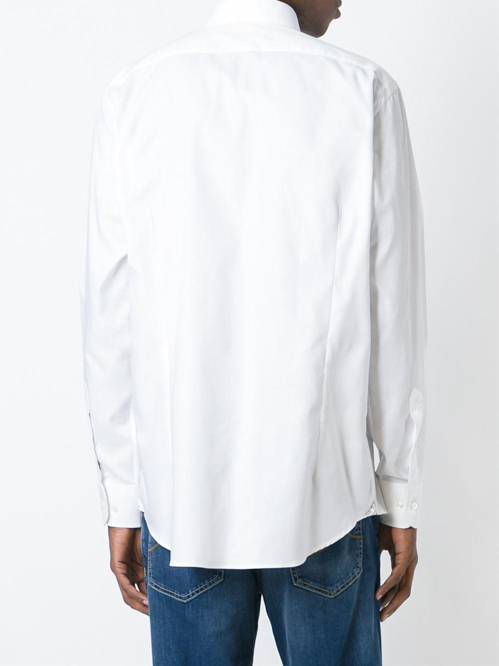 Lyst etro printed cuff shirt in white for men for Cuff shirts for men