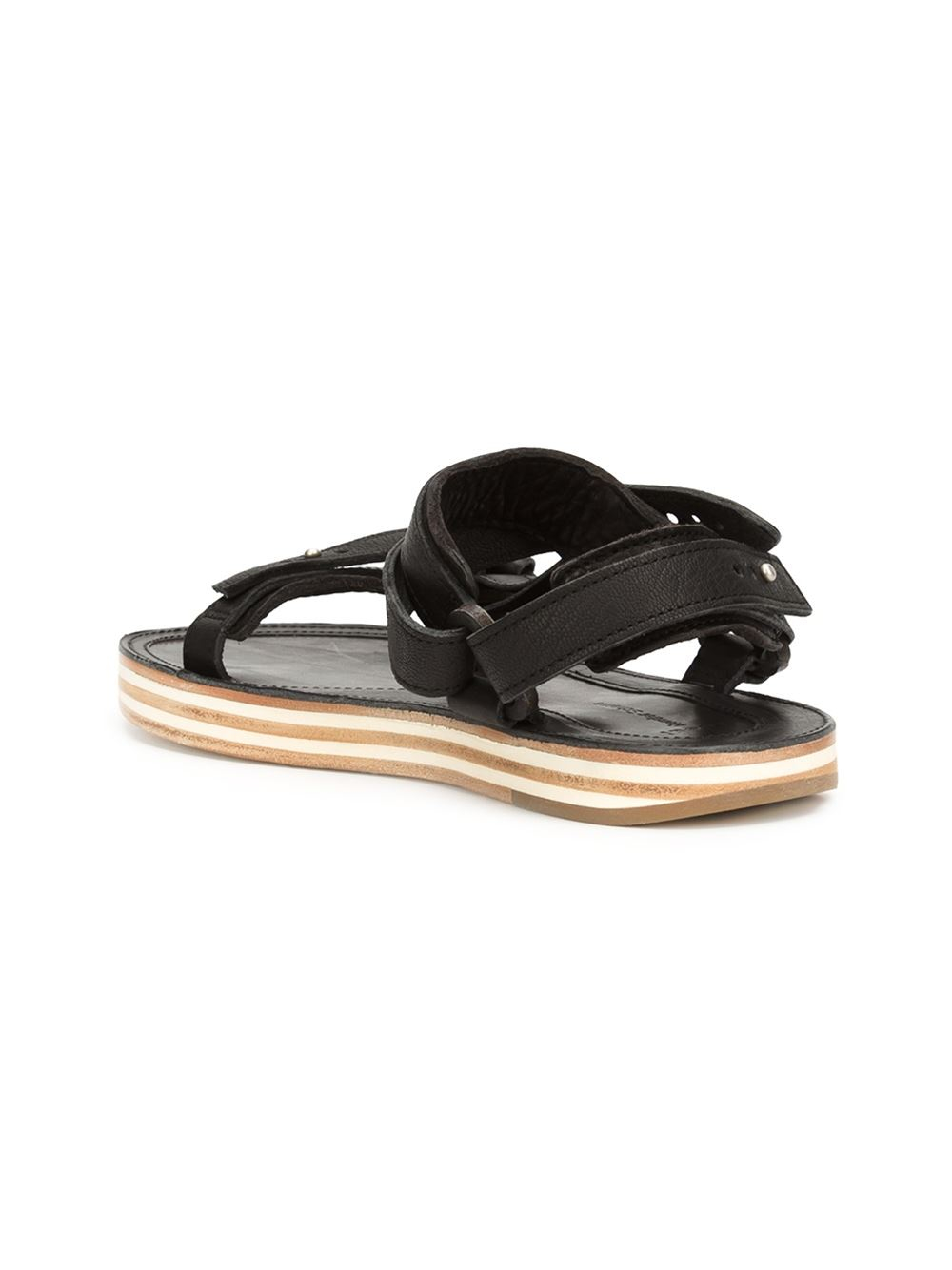 sacai strappy flat sandals in black for lyst
