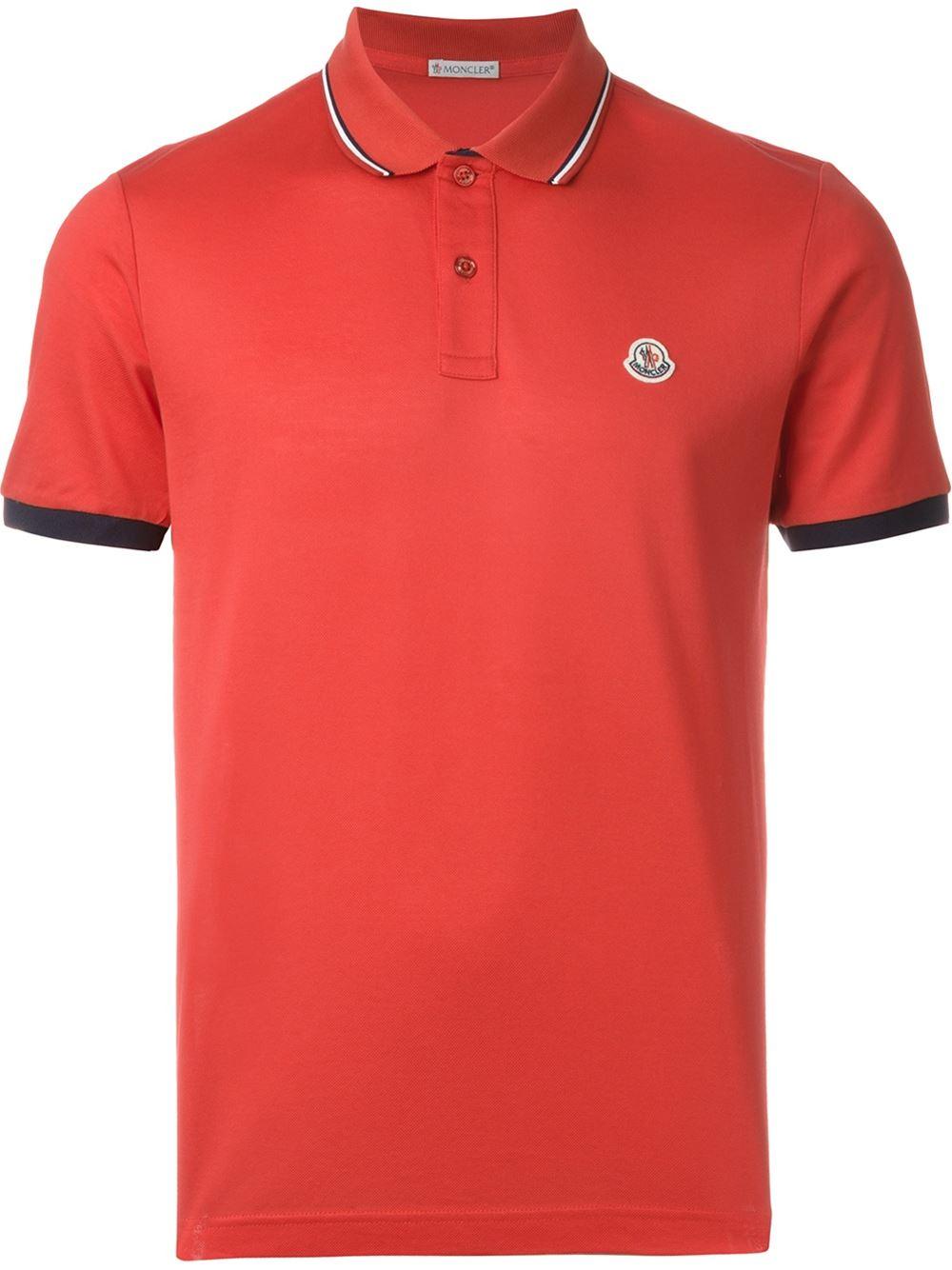 lyst moncler logo polo shirt men cotton xs in pink for men. Black Bedroom Furniture Sets. Home Design Ideas