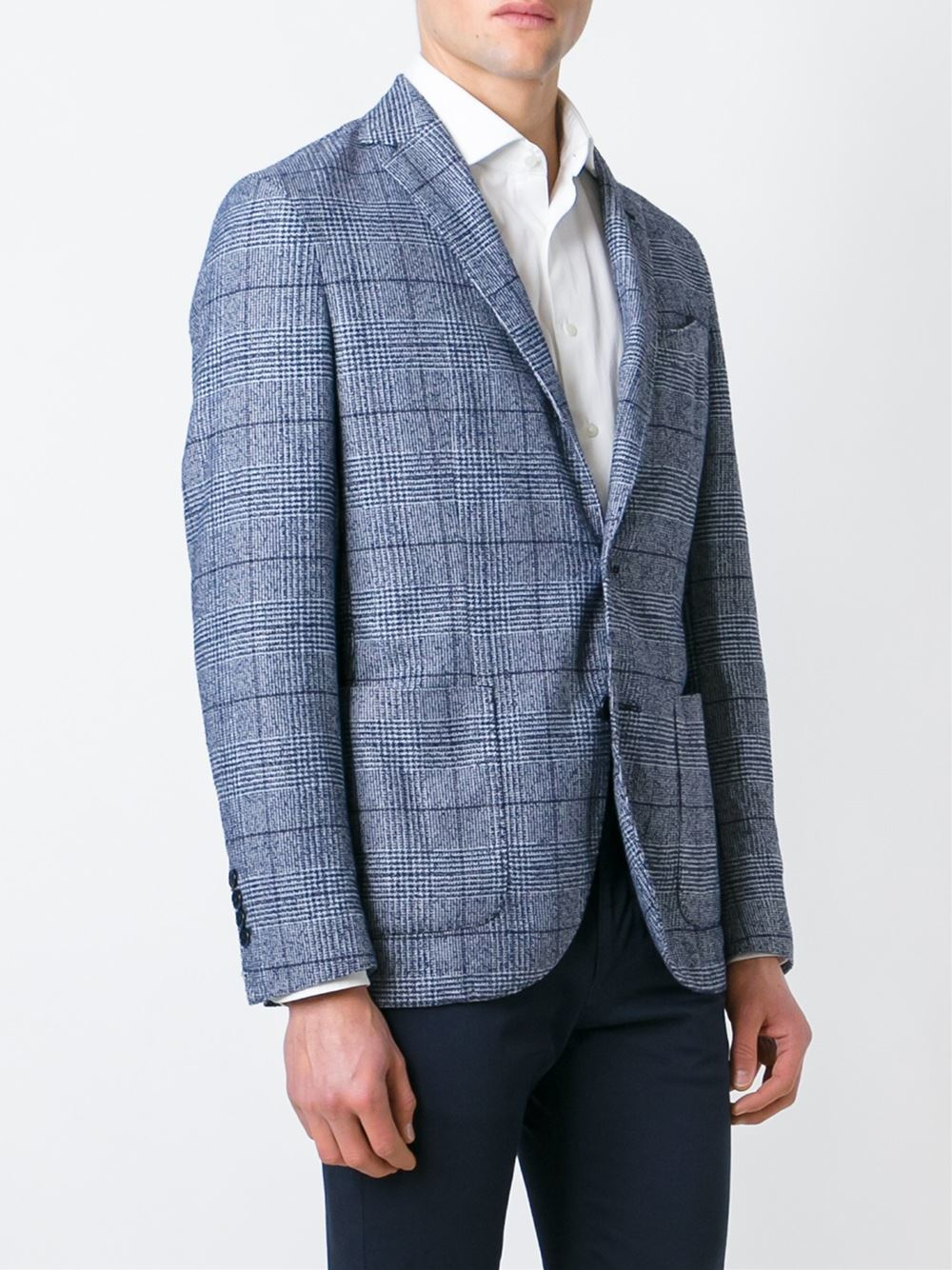 Hackett Prince Of Wales Check Blazer In White For Men