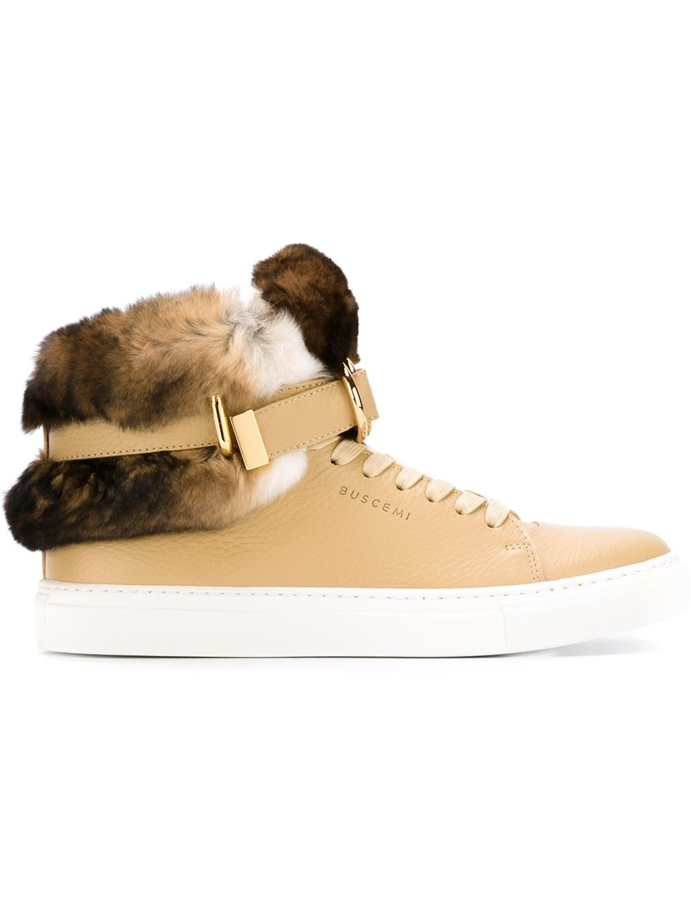 Lyst Buscemi Rabbit Fur Detail Hi top Sneakers in Natural