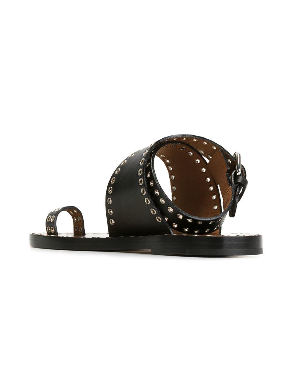 Lyst Isabel Marant 201 Toile Jools Studded Sandals In Black