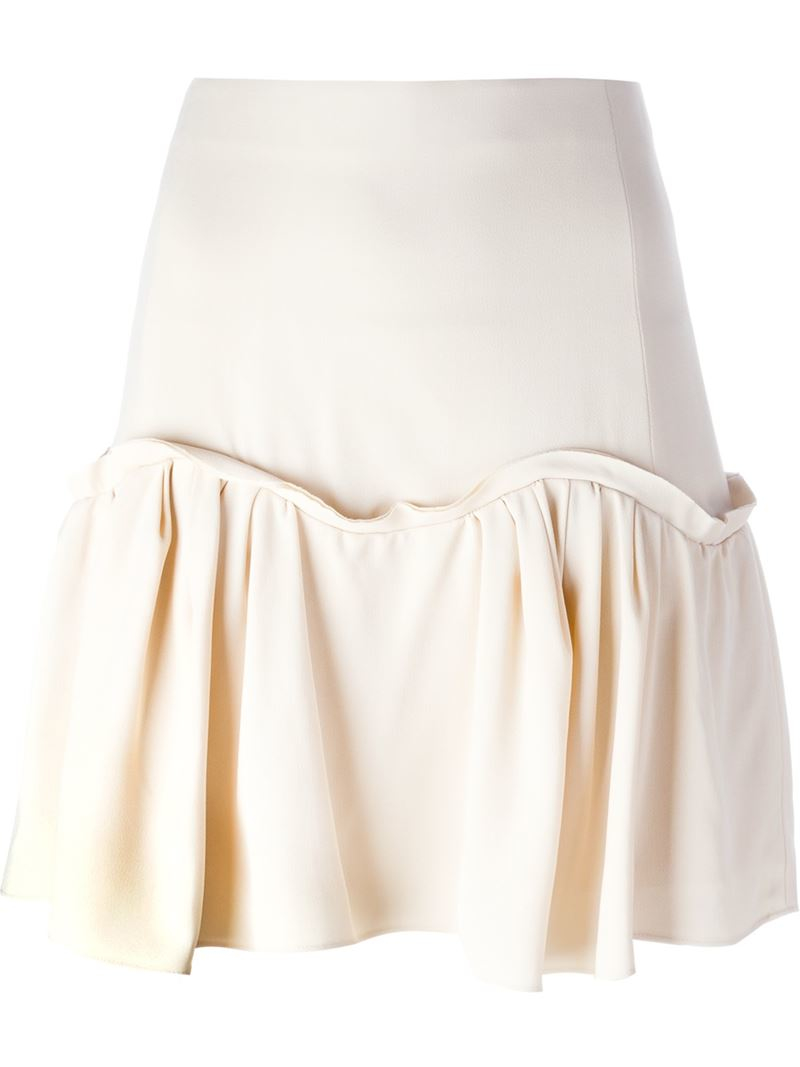 chlo 233 pleated hem a line skirt in lyst