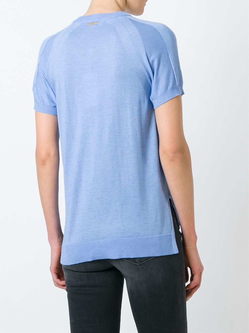 michael michael kors knitted t shirt in blue lyst. Black Bedroom Furniture Sets. Home Design Ideas