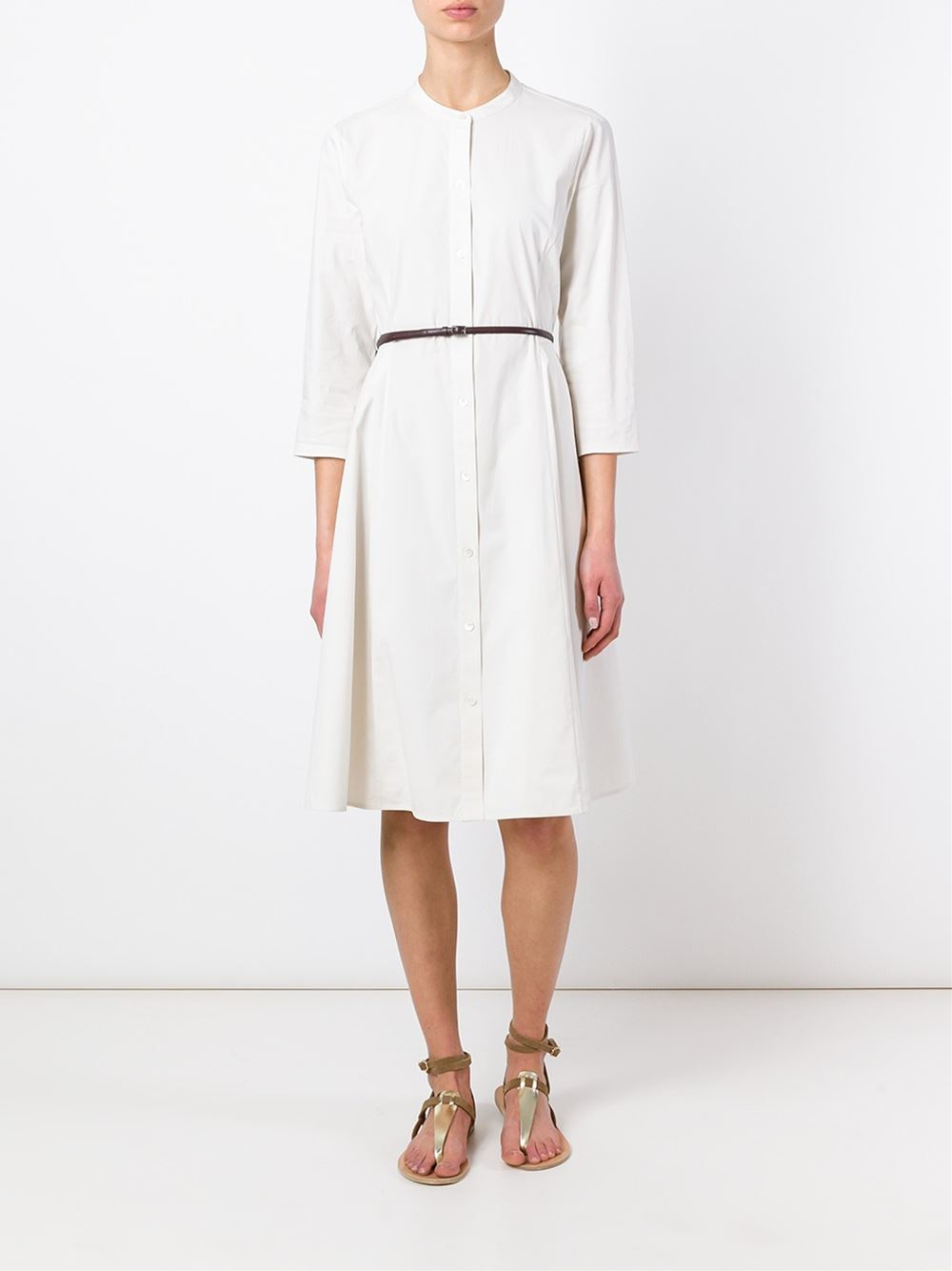 theory belted shirt dress in white nude neutrals lyst