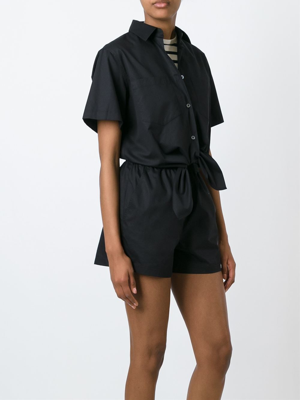 Lyst t by alexander wang shirt style playsuit in black for T by alexander wang t shirt
