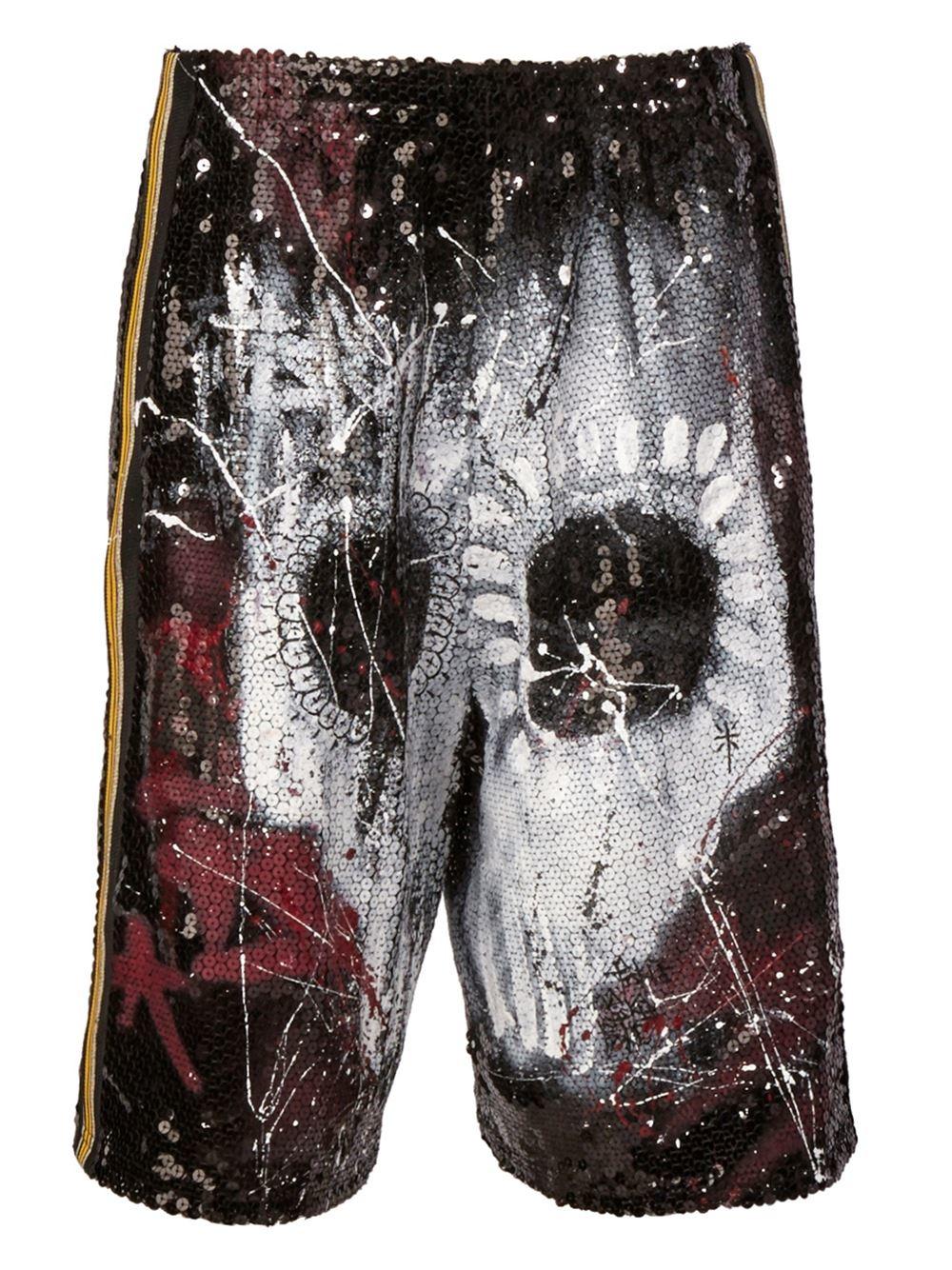 Faith Connexion Skull Print Sequin Shorts In Black For Men