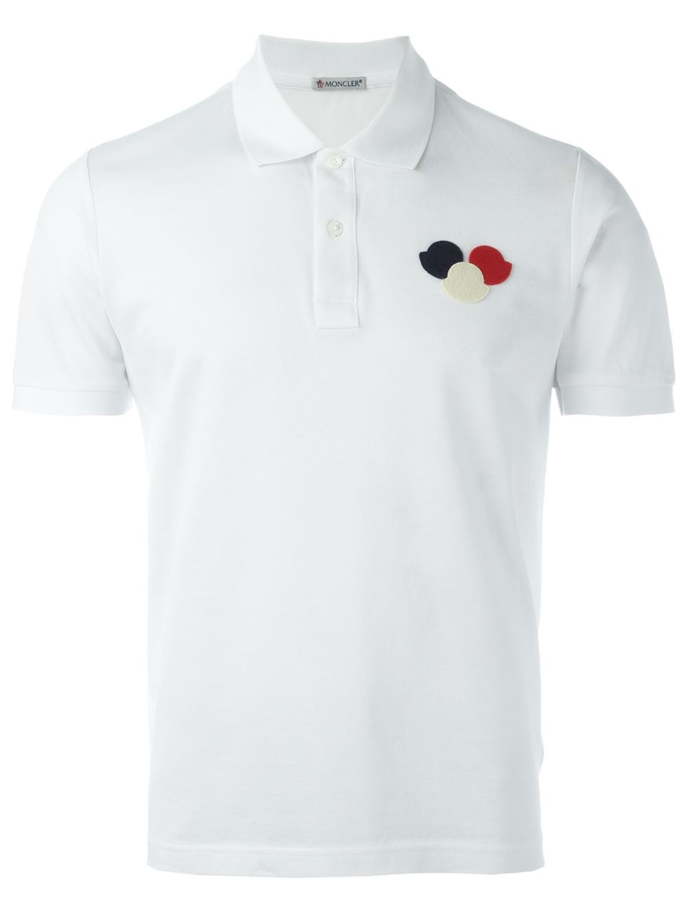 moncler logo polo shirt in white for men lyst. Black Bedroom Furniture Sets. Home Design Ideas