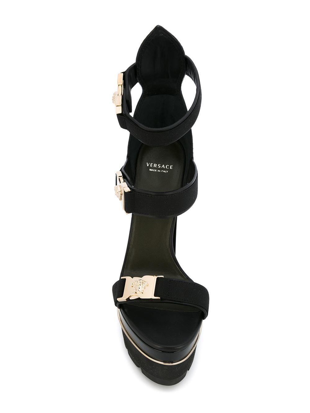 175eeaef863 Lyst - Versace  medusa Tri-strap  Platform Sandals in Black