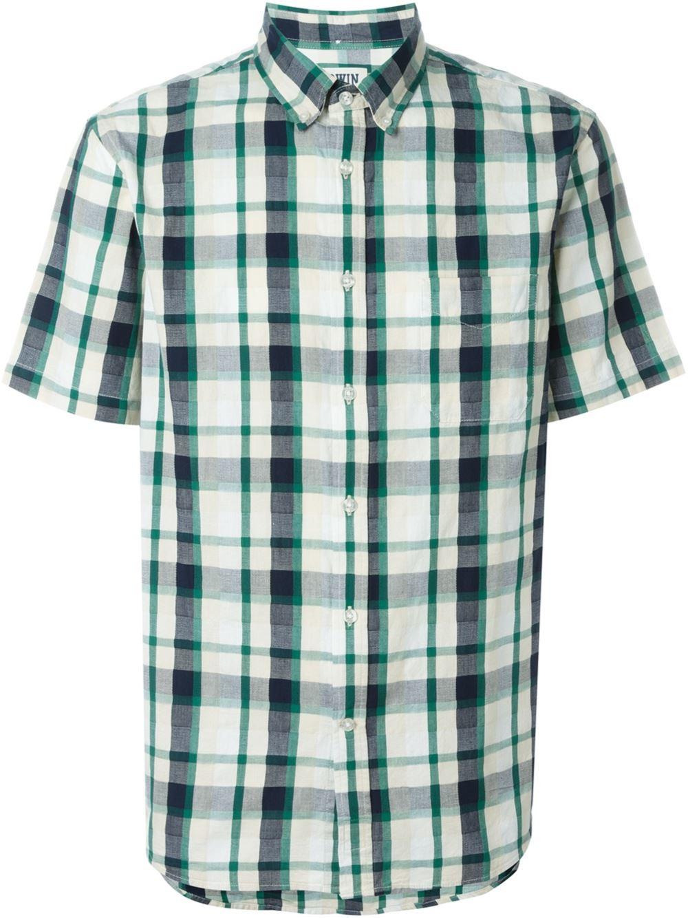 Lyst Edwin Short Sleeve Plaid Shirt In Green For Men