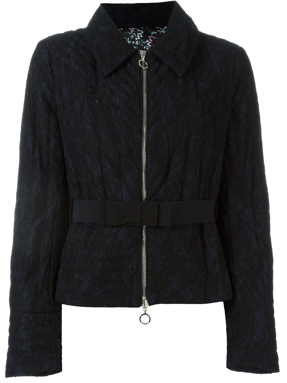 Moncler Floral Lace Puffer Jacket In Black Lyst