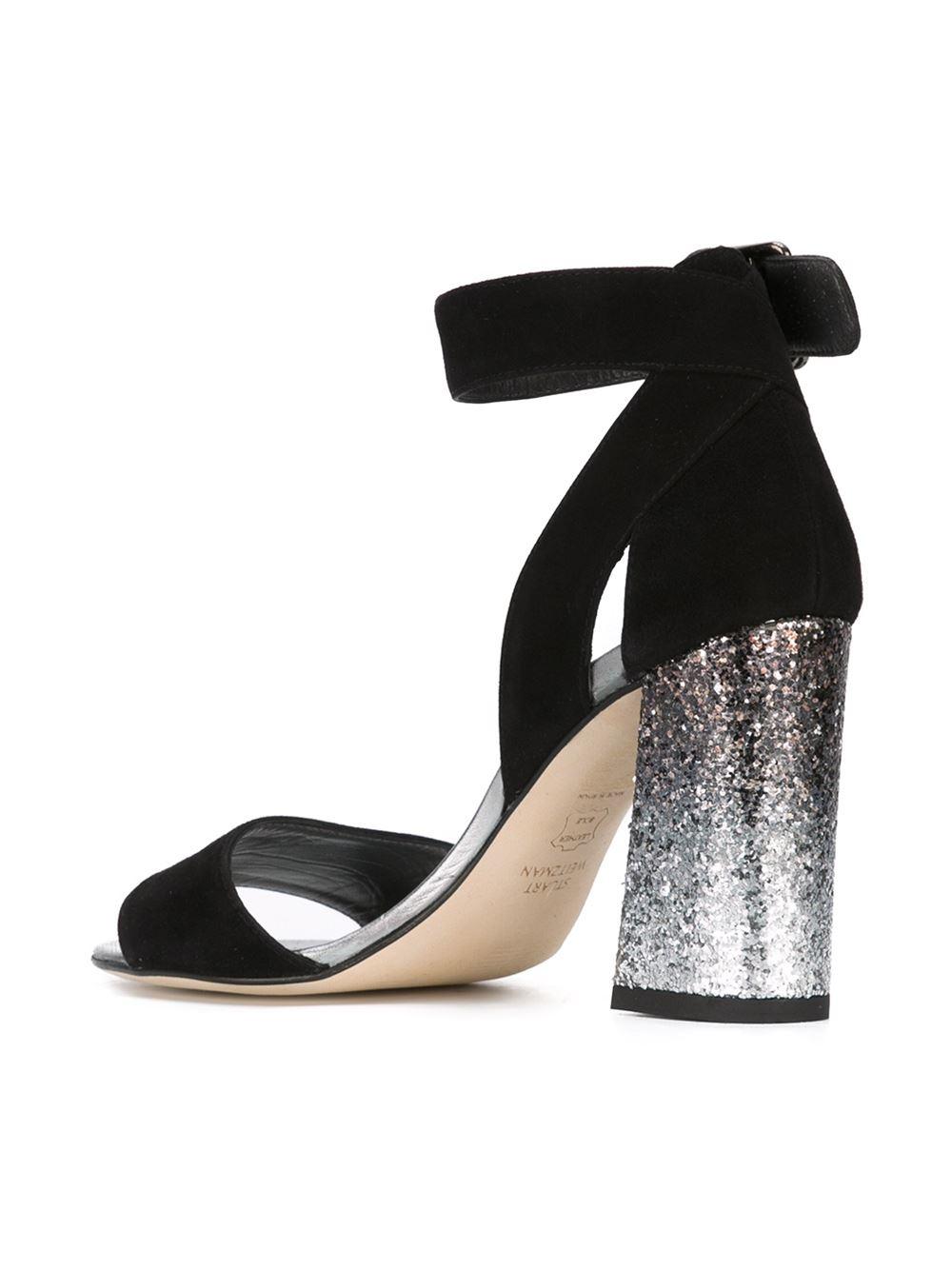 Stuart Weitzman Chunky Glitter Heel Sandals In Black Lyst