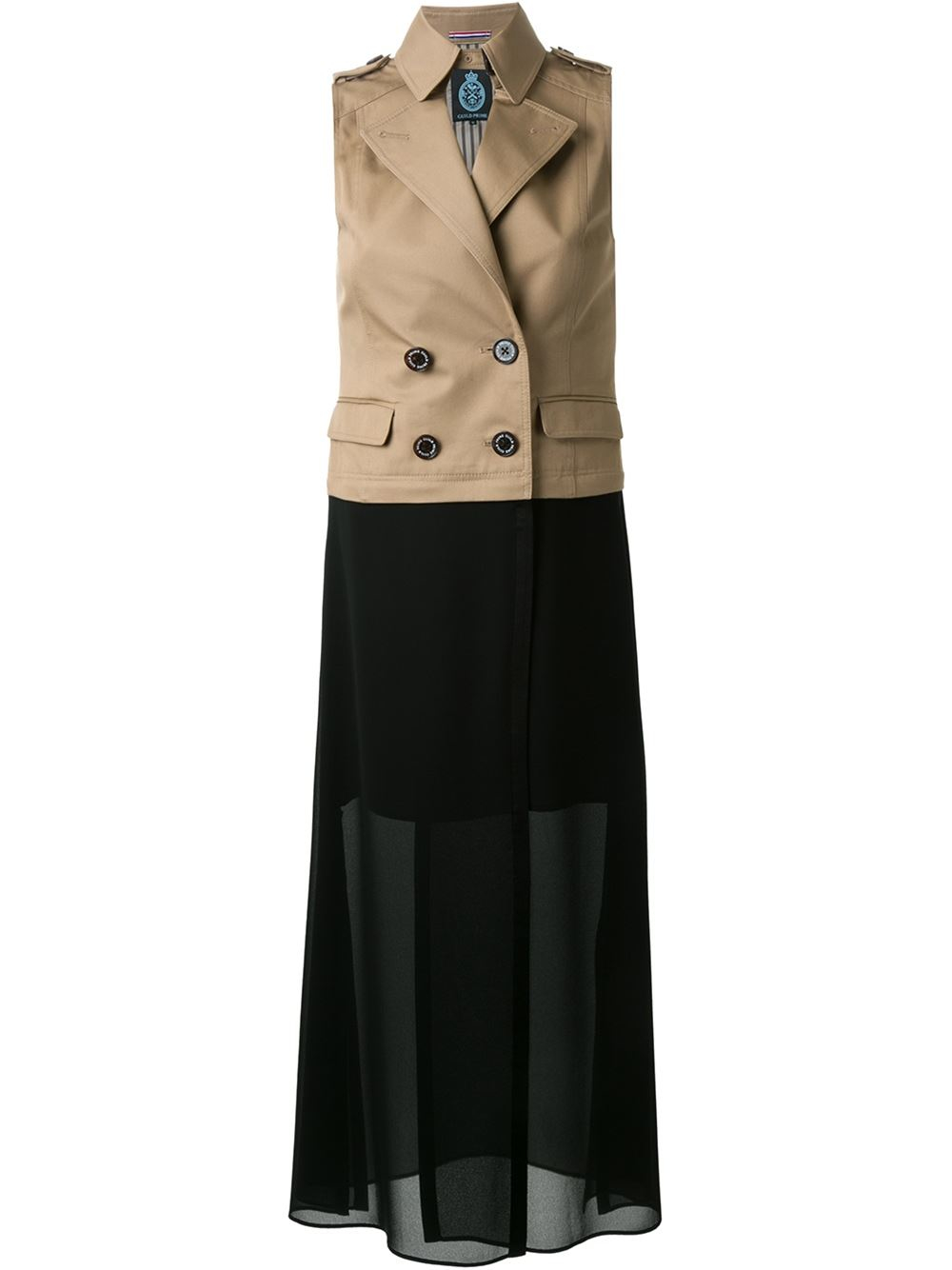 guild prime sheer panel trench dress in pink lyst