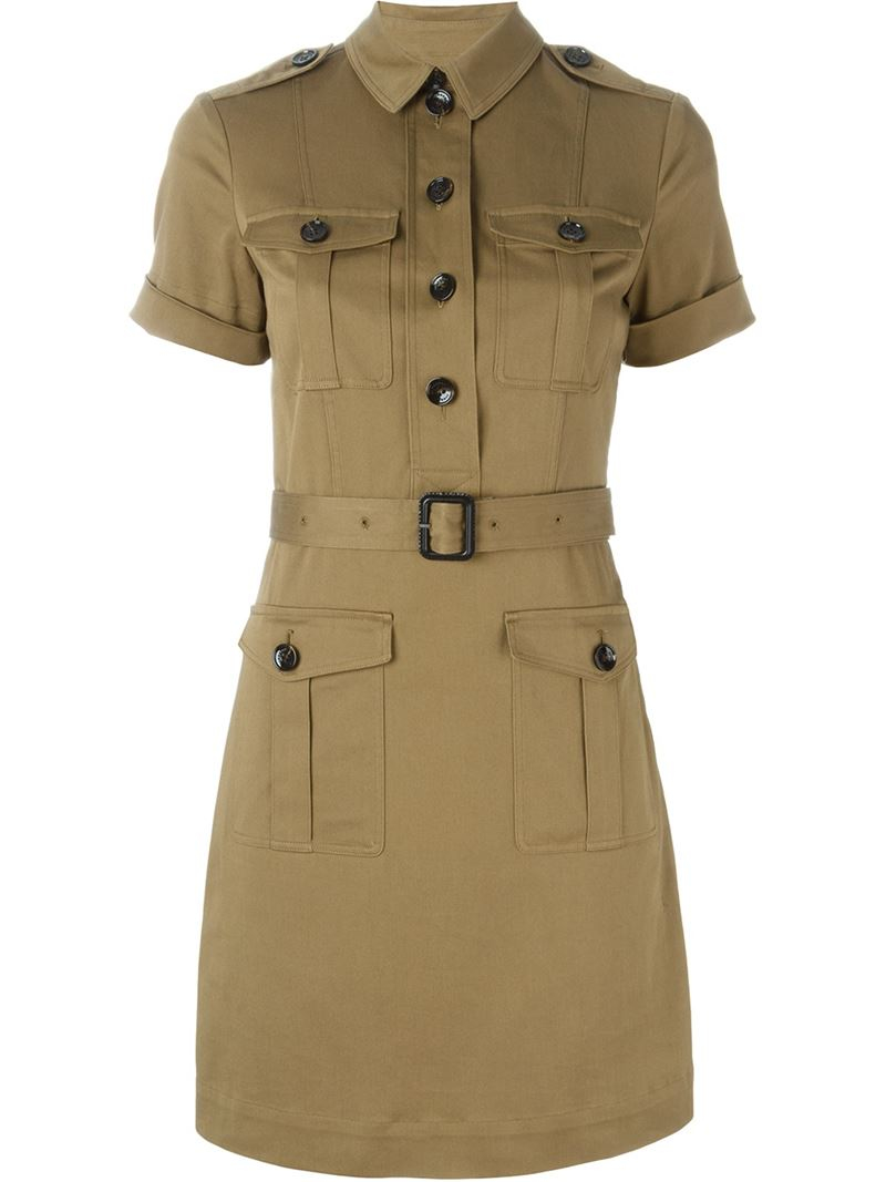 Lyst burberry brit belted military shirt dress in green for Burberry brit green plaid shirt