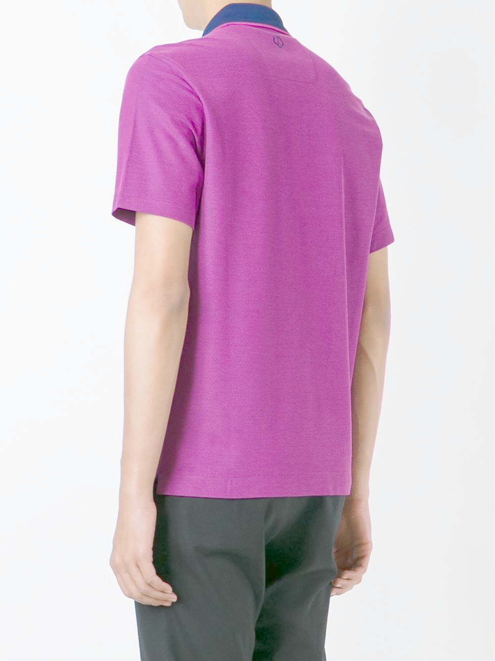 Lyst Z Zegna Contrasted Collar Polo Shirt In Purple For Men