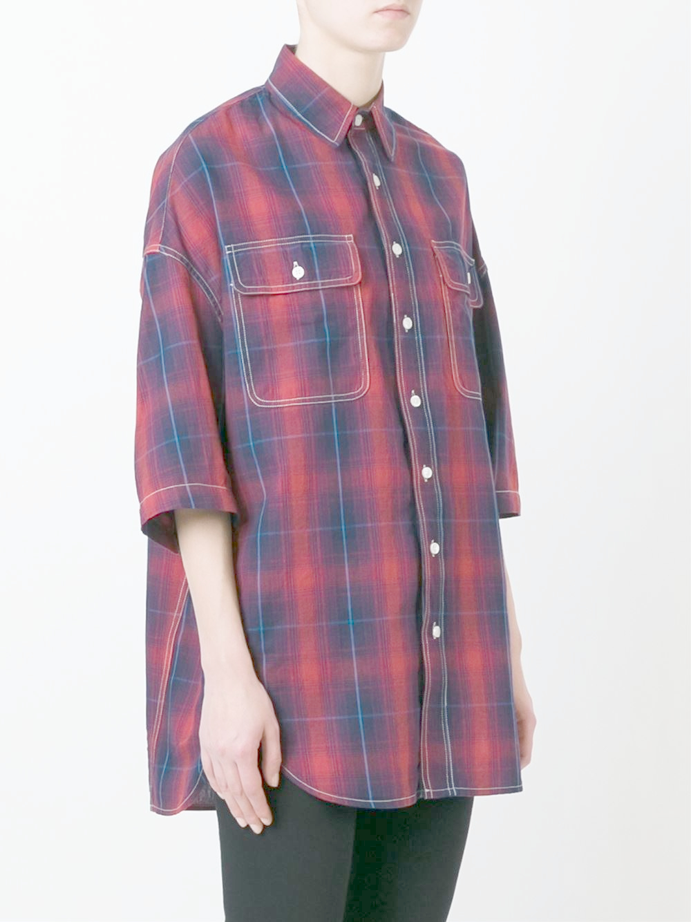 R13 Oversized Plaid Shirt In Blue Lyst