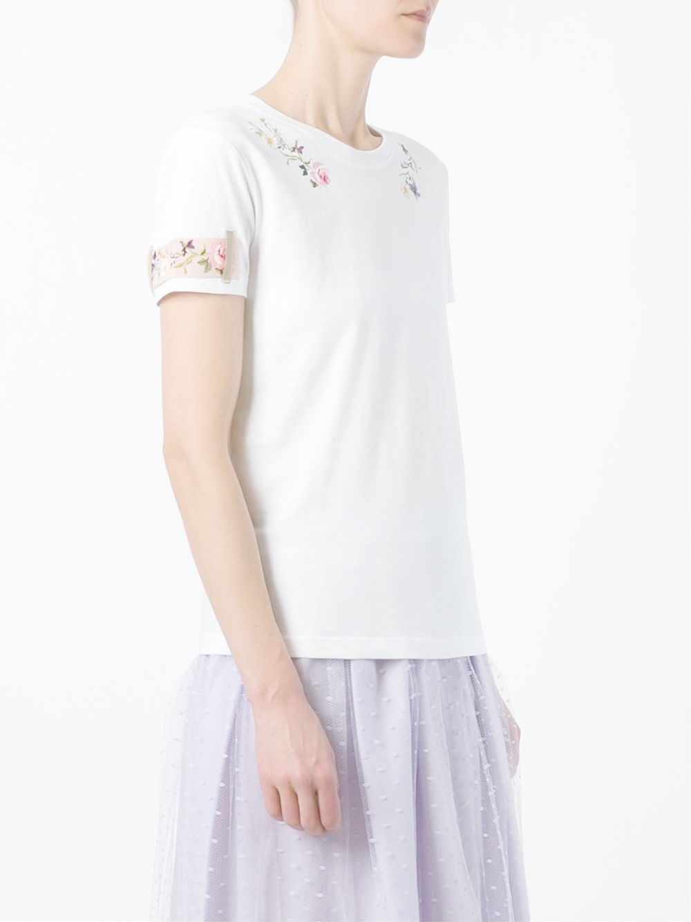 Red valentino floral embroidery t shirt in white lyst for Red valentino t shirt