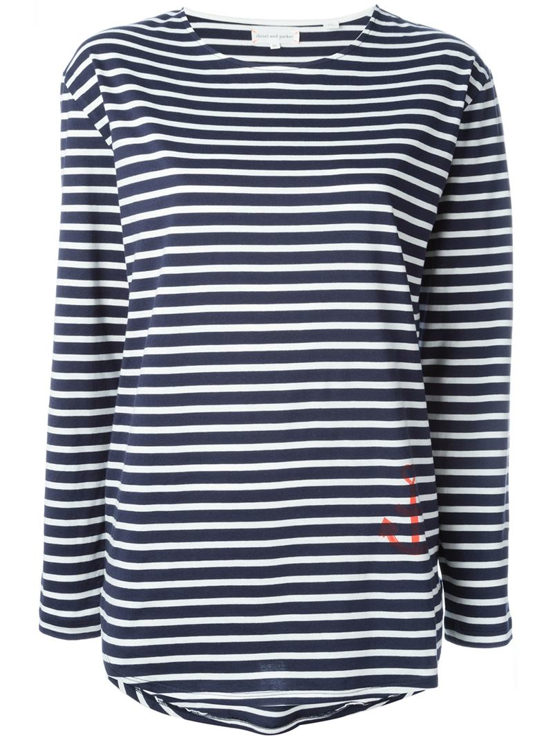 Chinti parker striped long sleeve t shirt in blue lyst for Blue and white striped long sleeve t shirt