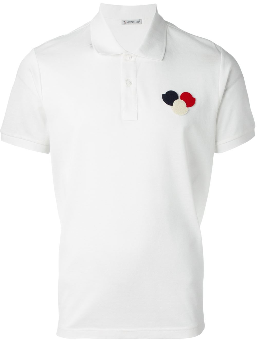 Moncler logo polo shirt in black for men lyst for Off white moncler t shirt