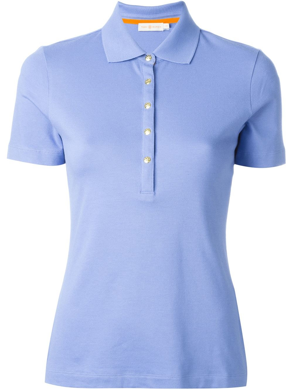 Lyst Tory Burch Snap Button Polo Shirt In Blue