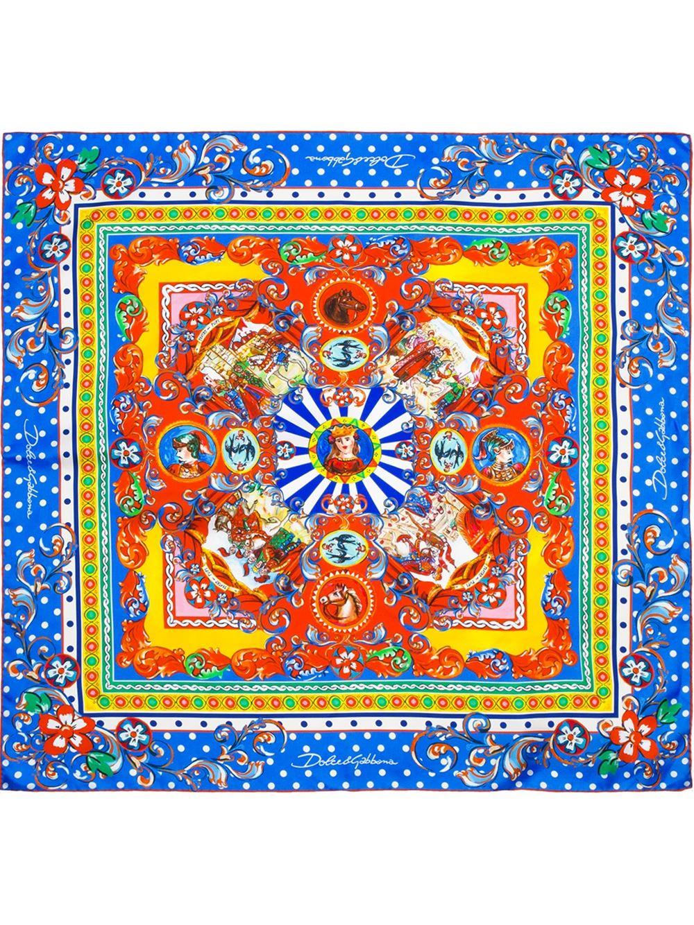 lyst dolce amp gabbana carretto siciliano print foulard in