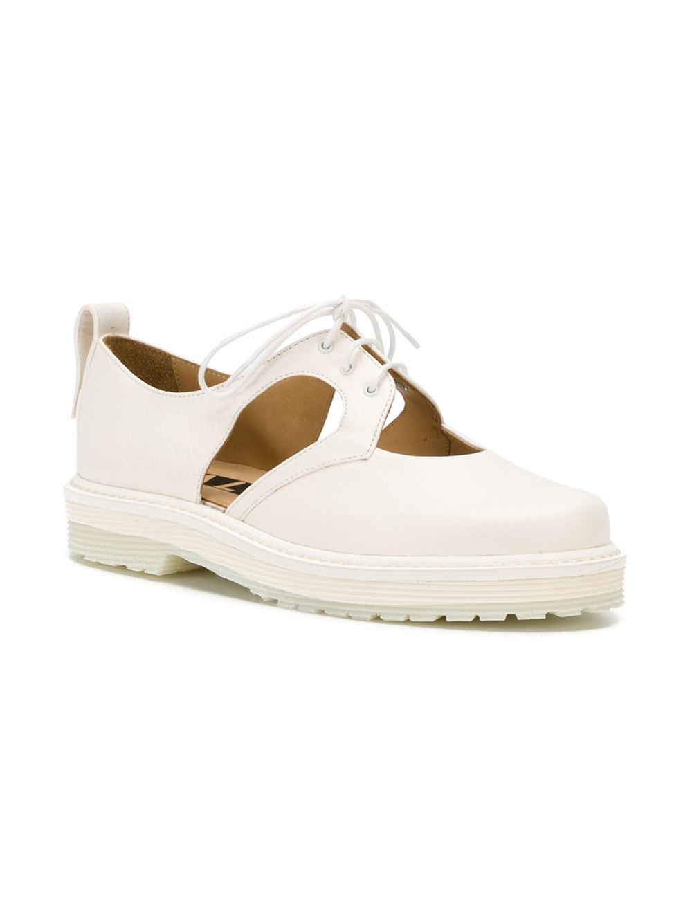 aalto cut out derby shoes in white lyst