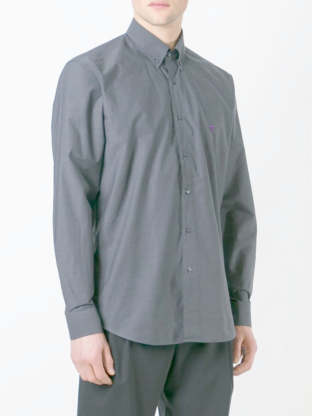 Etro button down shirt in gray for men lyst for Mens grey button down dress shirt