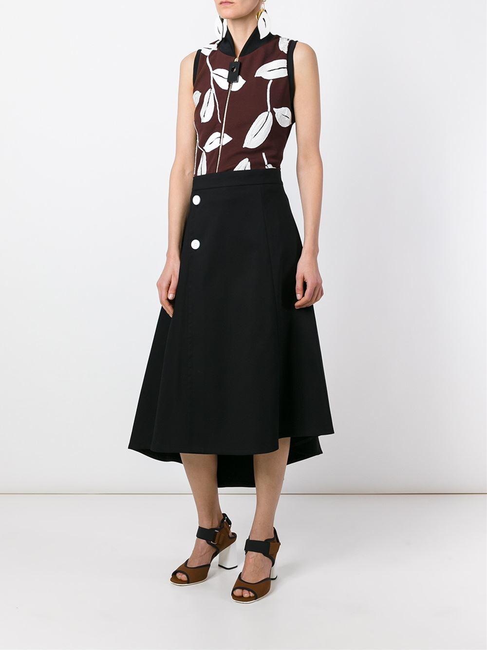 marni flared midi skirt in black lyst