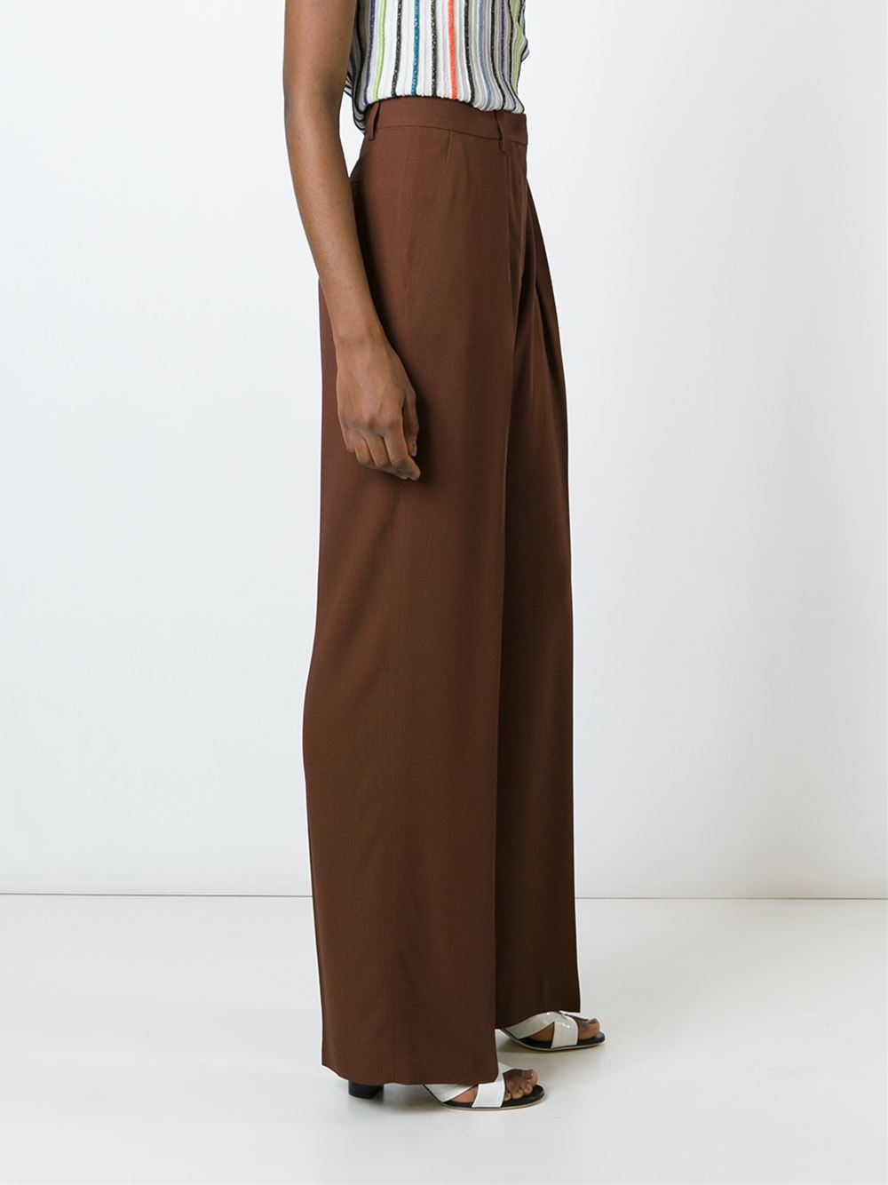 msgm wide leg pants in brown lyst