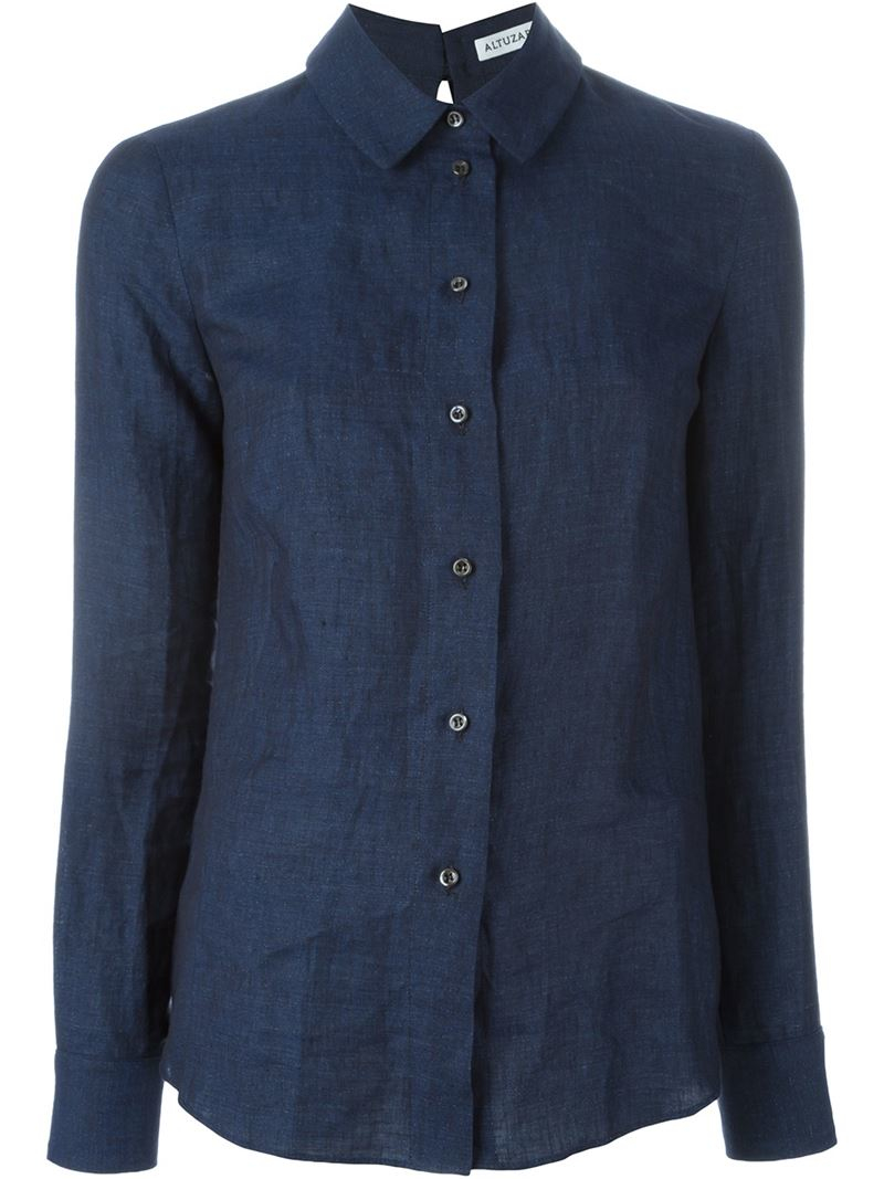 altuzarra classic button down shirt in blue lyst